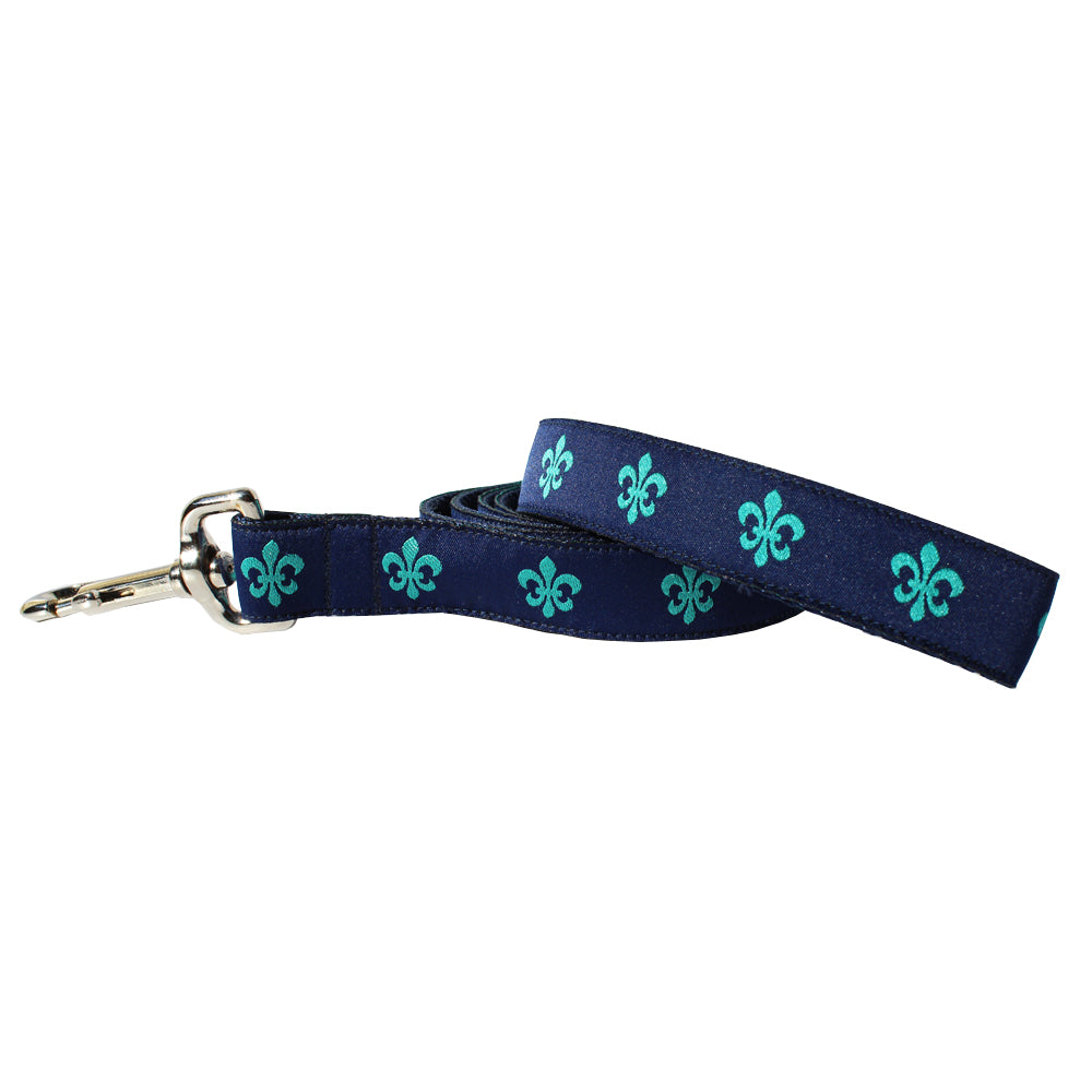 Navy & Teal Fleur de Lis Dog Leash