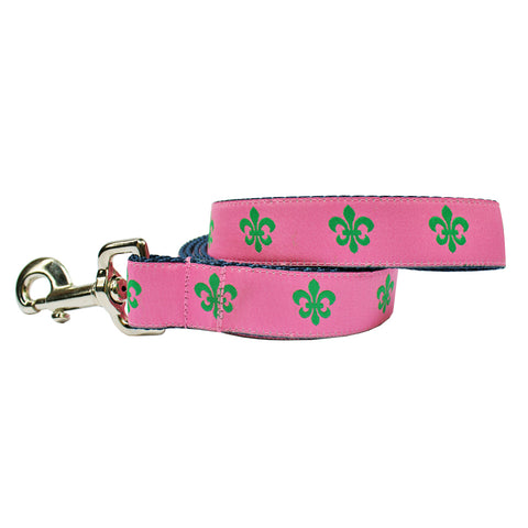 Pink & Green Fleur de Lis Dog Leash
