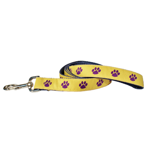 Tiger's Eye Gold Paw Prints Dog Leash