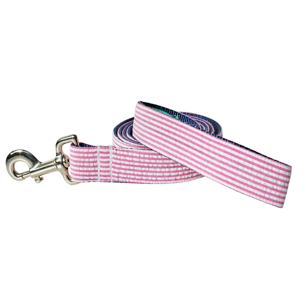 Pink Seersucker Dog Leash