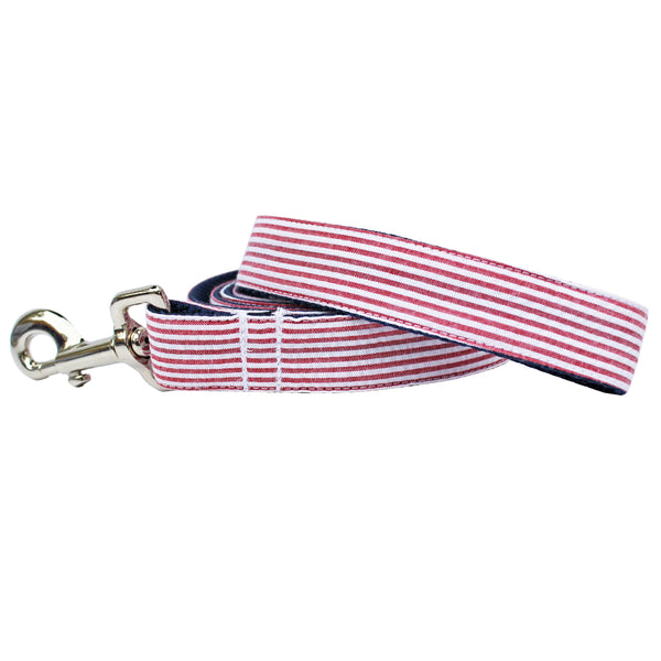 Red Seersucker Dog Leash