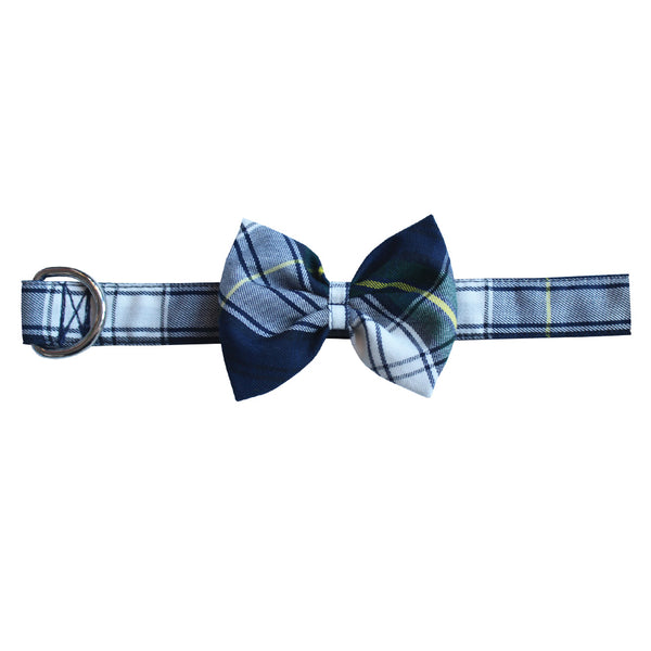 Navy Plaid Bow Tie Dog Collar