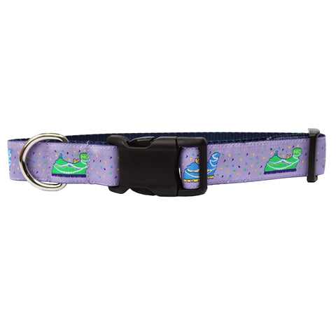 Ash Wednesday Lavender Mardi Gras Floats Dog Collar