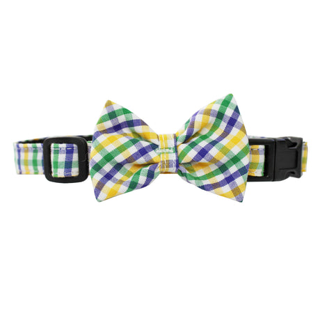 Mardi Gras Mambo Extra Small Gingham Dog Bow Collar