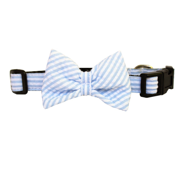 Extra Small Seersucker Dog Bow Collar