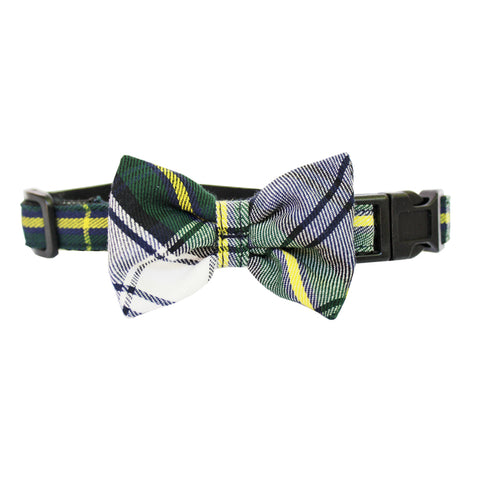 Extra Small Plaid Dog Bow Collar