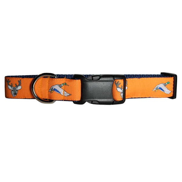 Citrus Orange Ducks and Bucks Dog Collar