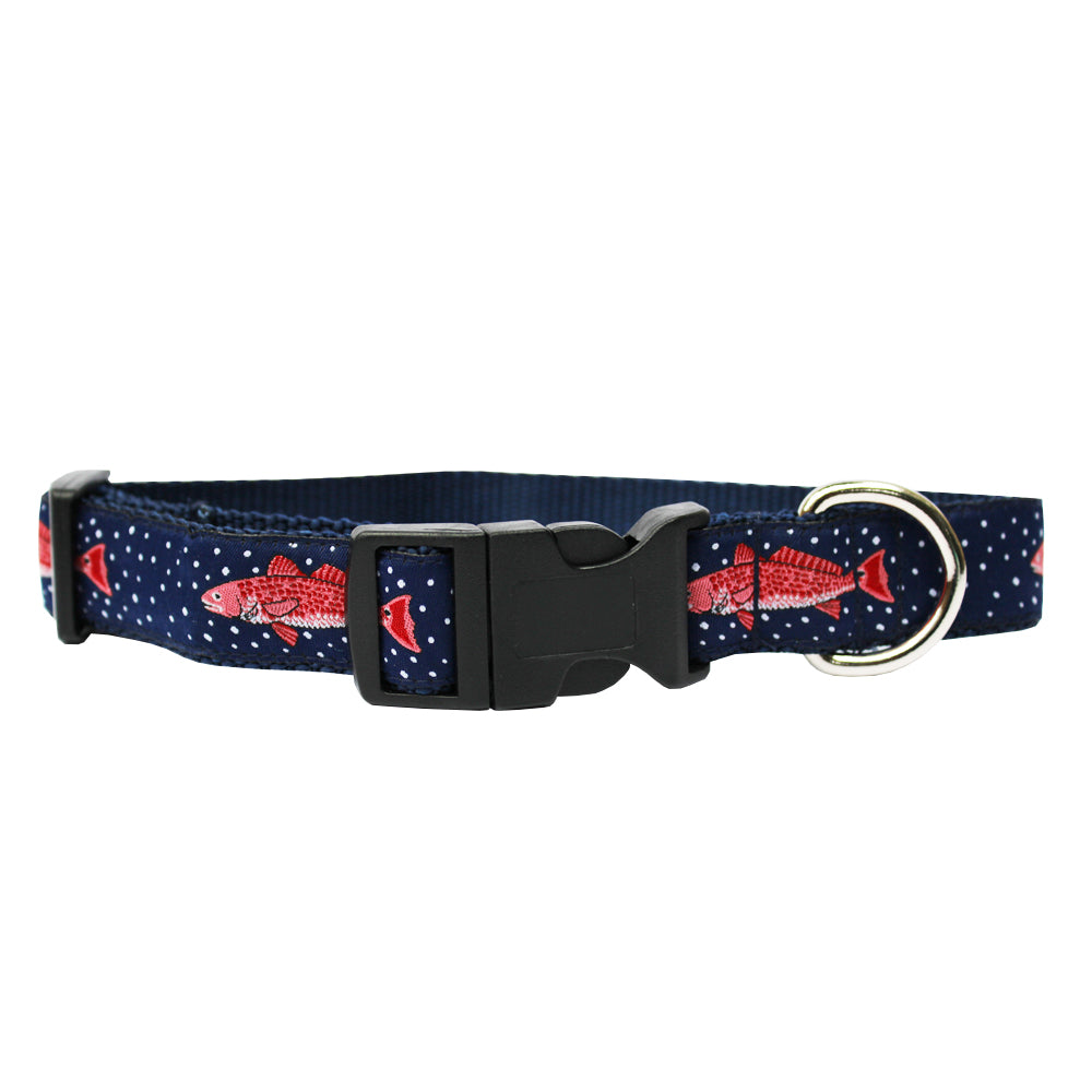 Midnight Navy Gulf Redfish Dog Collar