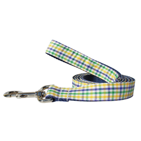 Mardi Gras Mambo Gingham Dog Leash