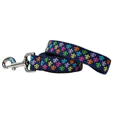 Multi Fleur de Lis Dog Leash