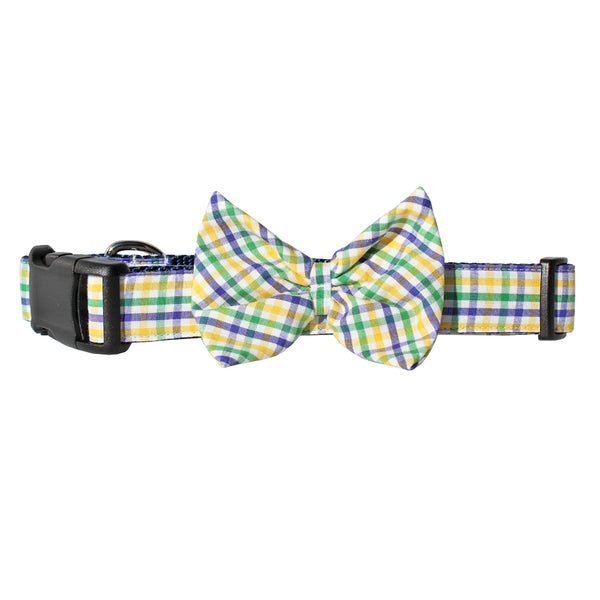 Mardi Gras Mambo Gingham Bow Tie Dog Collar