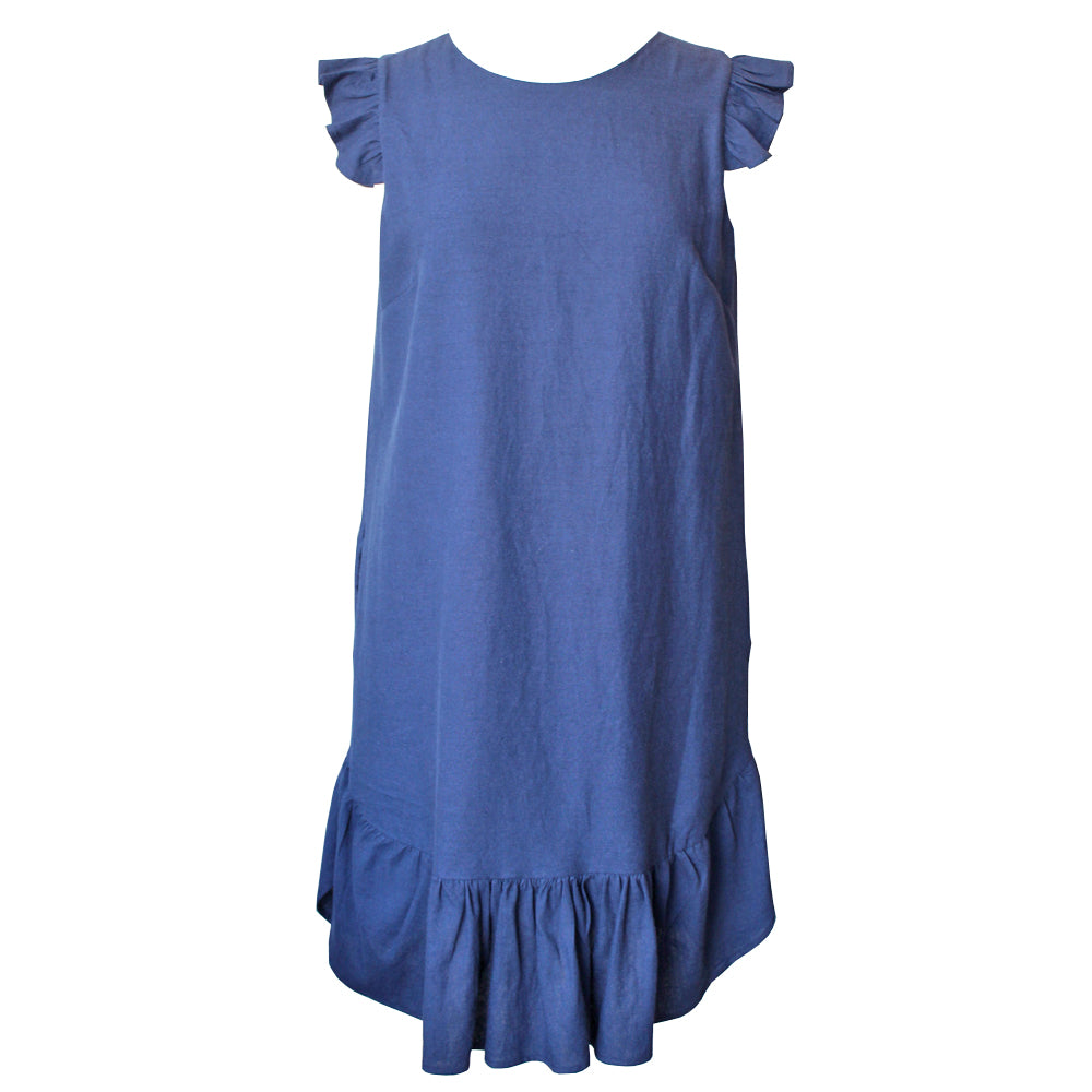 Navy Linen Drop Hem Dress
