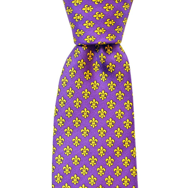 Purple & Gold Fleur de Lis Extra Long Tie