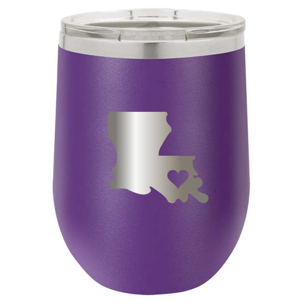 Stainless Steel Louisiana Heart Stemless Wine Glass