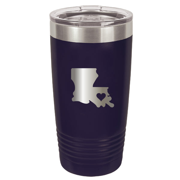 Stainless Steel Louisiana Heart Coffee Tumbler