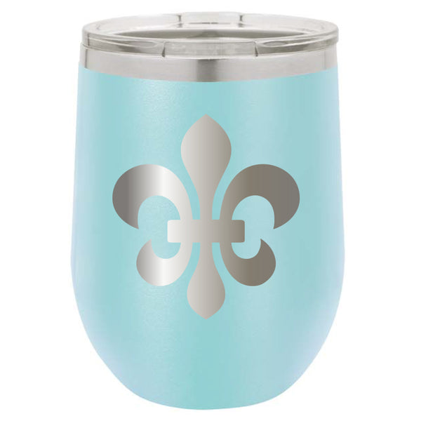 Stainless Steel Fleur de Lis Stemless Wine Glass