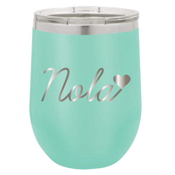Stainless Steel Heart NOLA Stemless Wine Glass