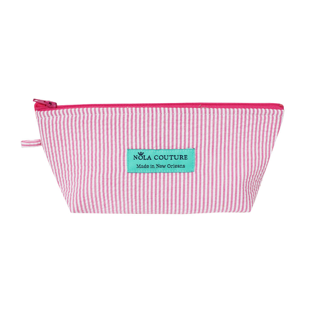 Small Pink Seersucker Makeup Bag