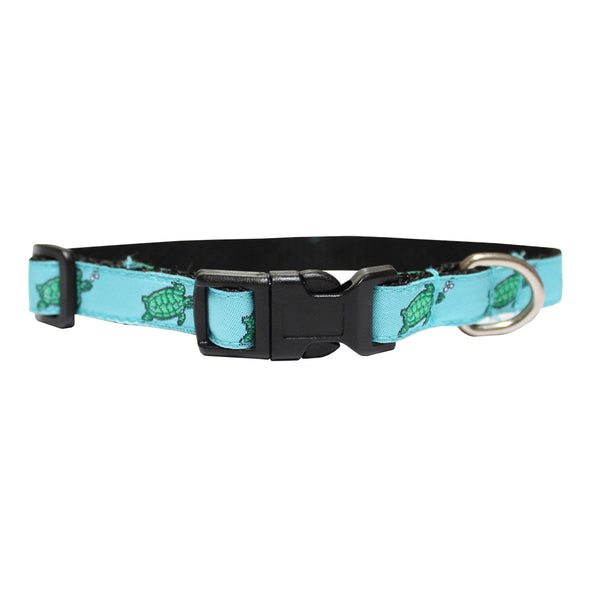 Caribbean Blue Sea Turtle Extra Small Fleur de Lis Dog Collar