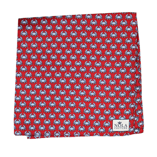 Cayenne Red Boiled Crab Pocket Square