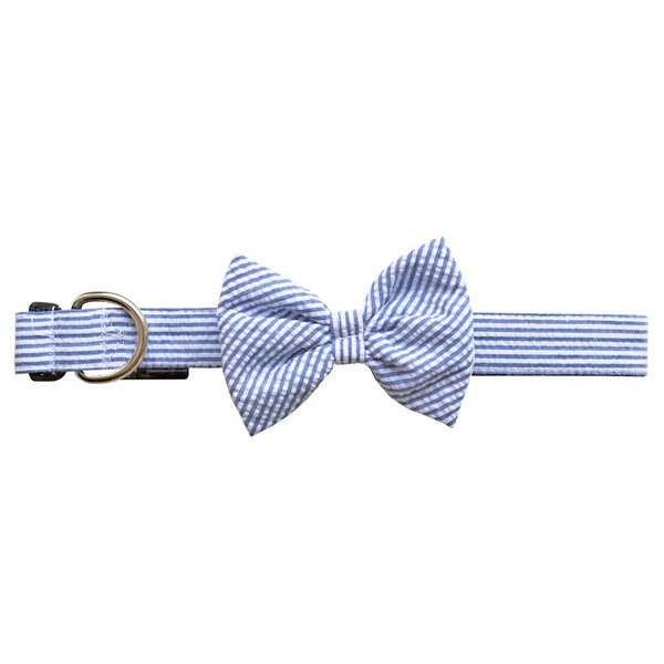 Navy Seersucker Bow Tie Dog Collar