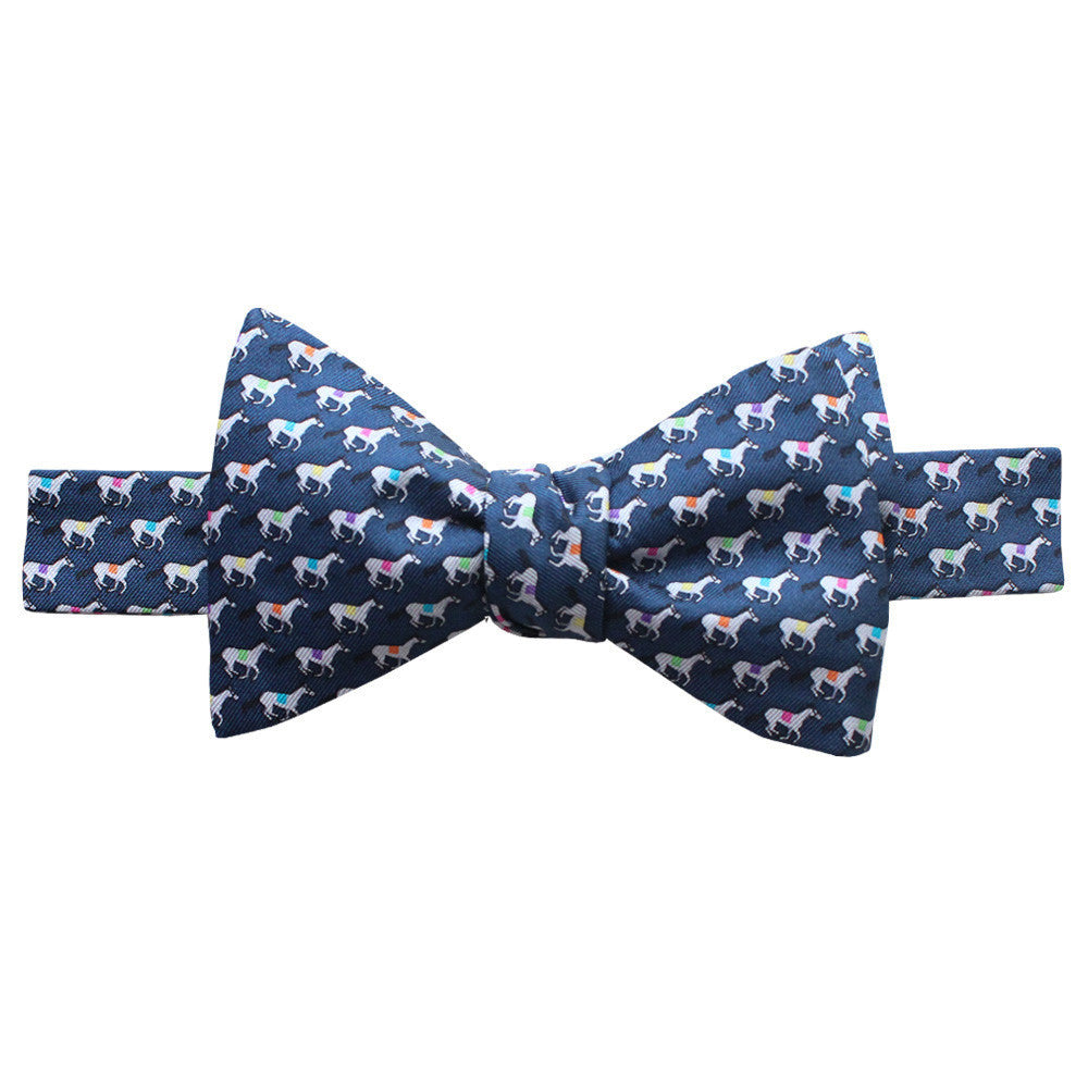 Midnight Navy Race Horse Bow Tie