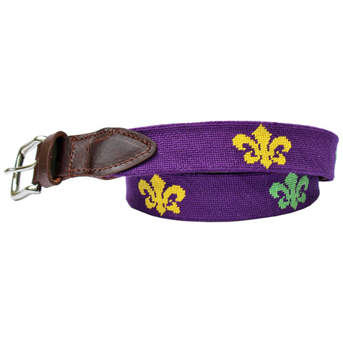 Regal Purple Fleur de Lis Needlepoint Club Belt