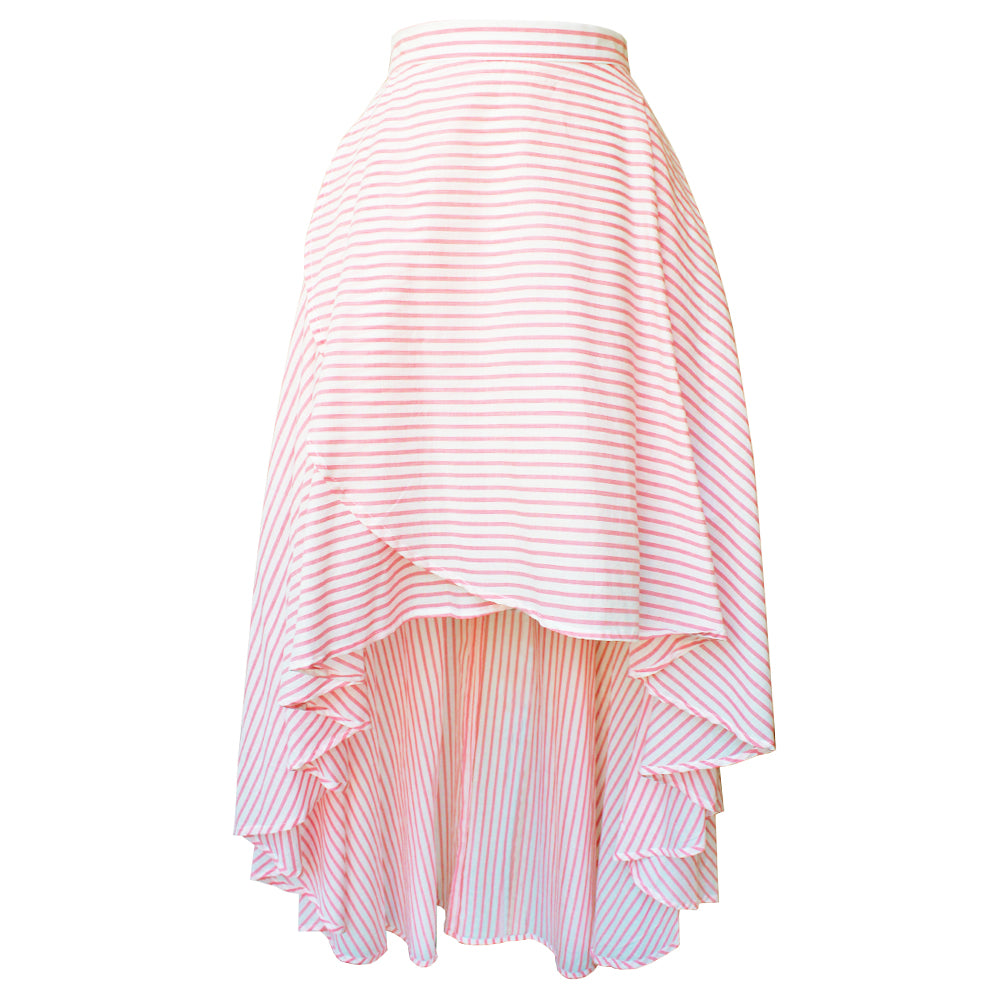 Pink Striped Cotton Long Petal Skirt