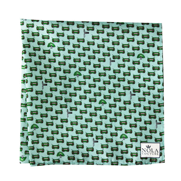 Mint Green Streetcar Pocket Square