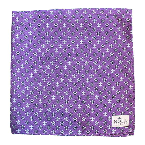 Regal Purple Fleur de Lis Pocket Square