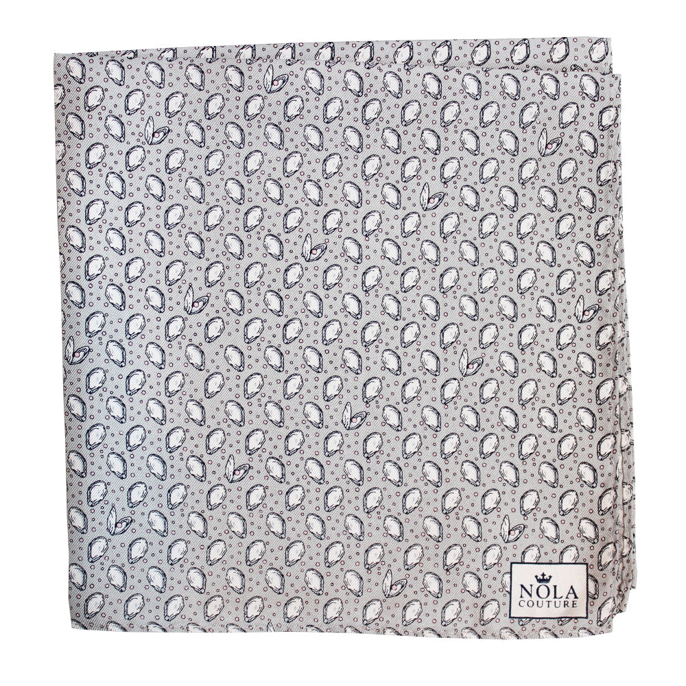 Beach Beige Mini Gulf Oysters Pocket Square