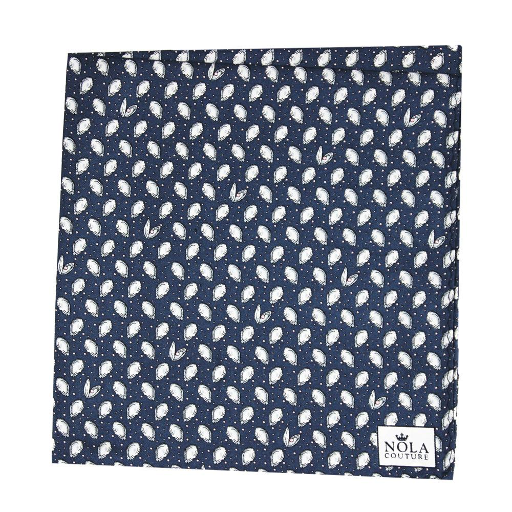 Midnight Navy Mini Gulf Oysters Pocket Square