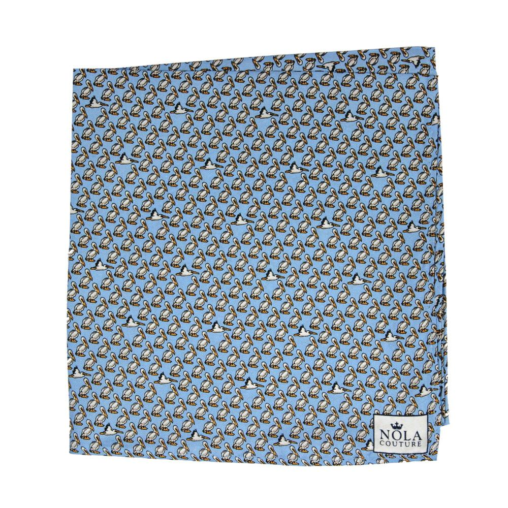 Gulf Blue Pelican Pocket Square