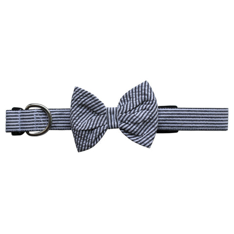 Black Seersucker Bow Tie Dog Collar