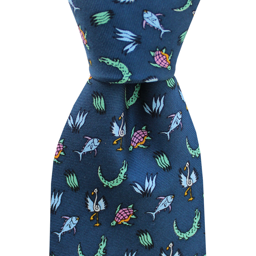 NOLA Couture x Alex Beard Midnight Navy Under The Sea Skinny Tie