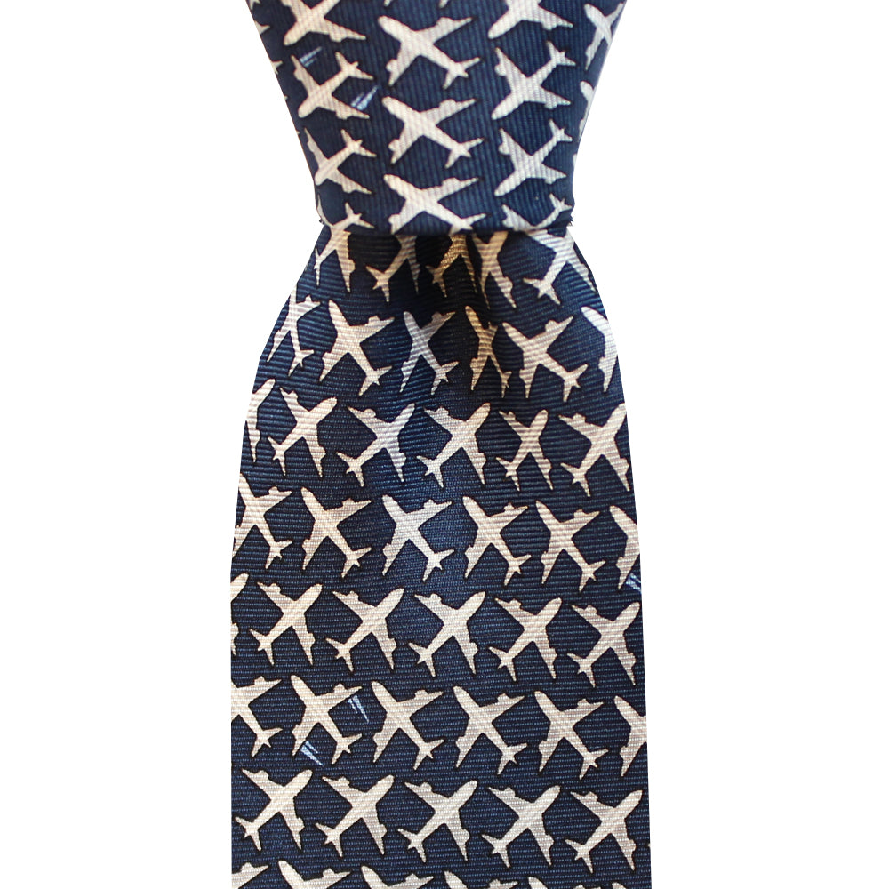 Midnight Navy MSY Airplanes Skinny Tie