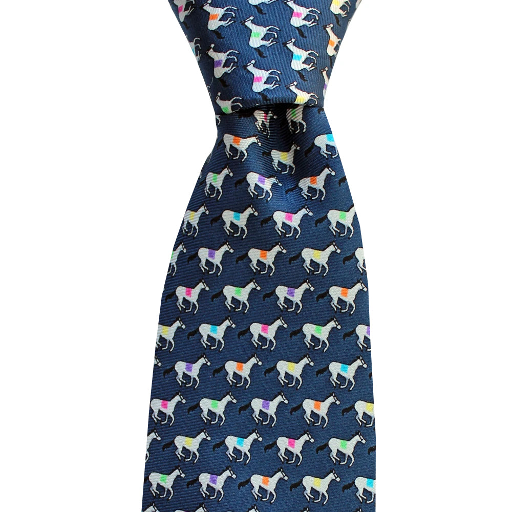 Midnight Navy Racehorses Skinny Tie