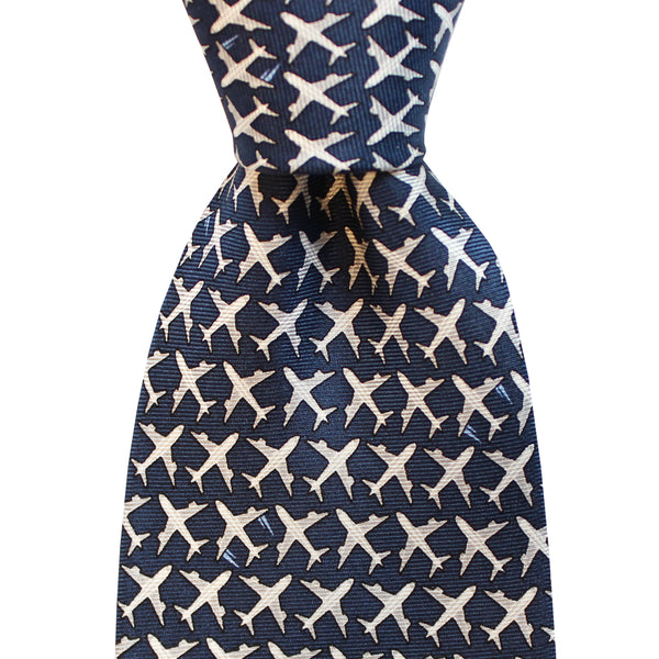 Midnight Navy Boys' MSY Airplanes Tie