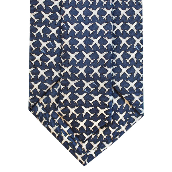 Midnight Navy MSY Airplanes Tie