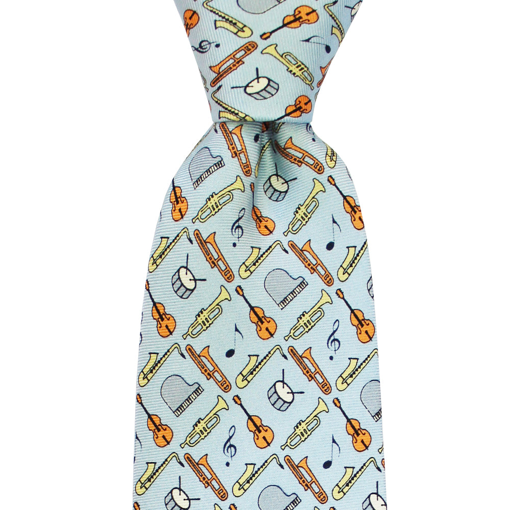 Gulf Blue Jazz Instruments Tie