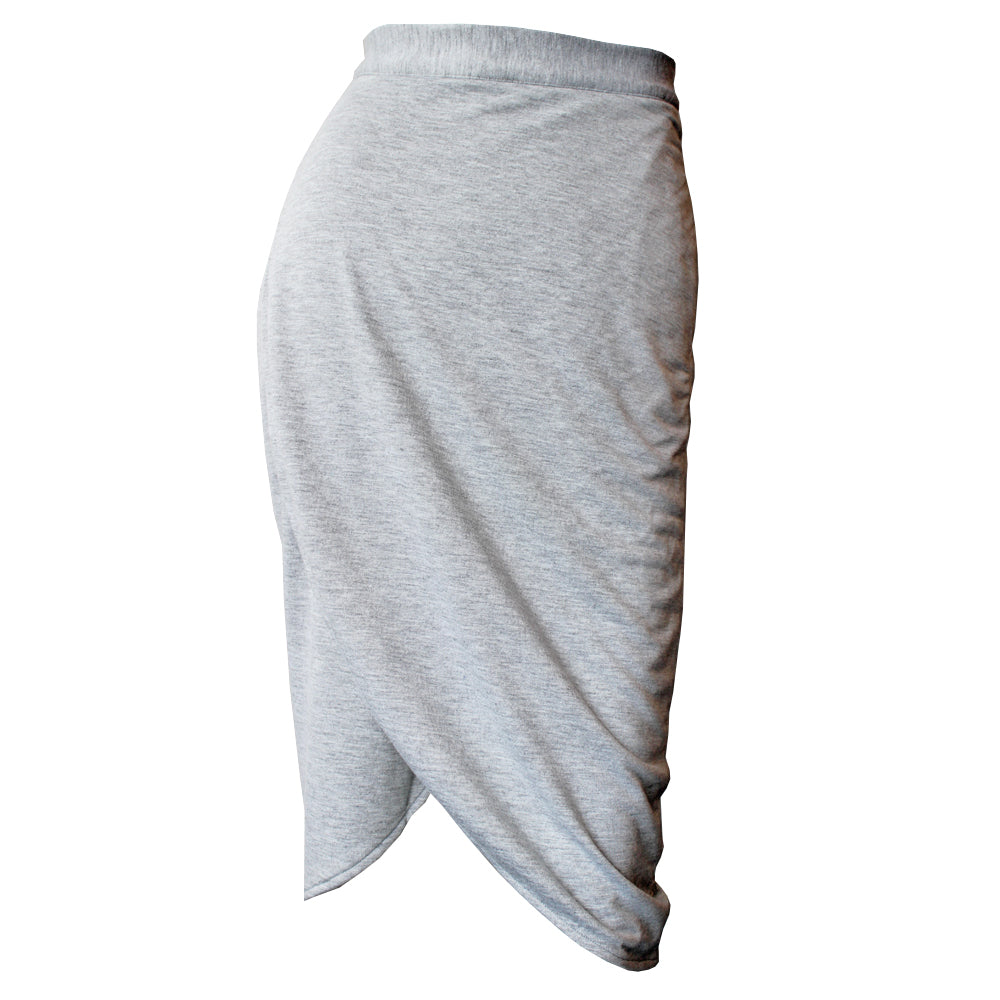 Heather Gray Knit Tulip Skirt