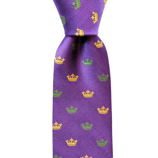 Regal Purple Crown Skinny Woven Tie