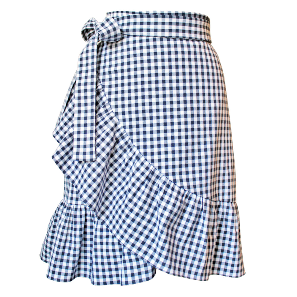 Gingham Ruffle Wrap Skirt