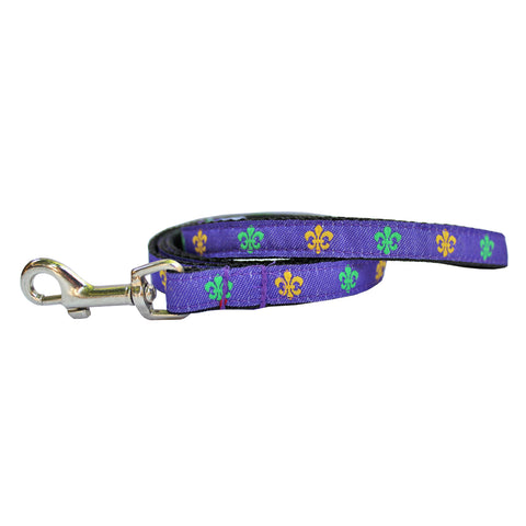 Mardi Gras Mambo Extra Small Fleur de Lis Dog Leash