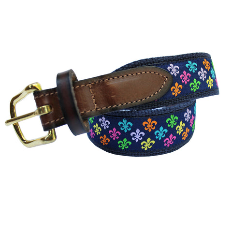 Midnight Navy Boys' Multi Fleur De Lis Club Belt