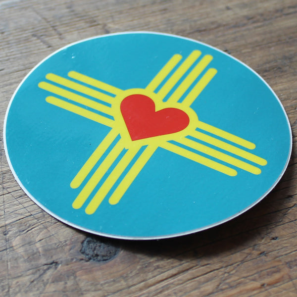 "New Mexico Love 3.5"" Round Sticker"