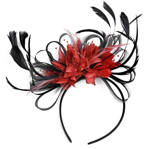 Caprilite Hoopmix Fascinator Black and Red Fascinator on Headband