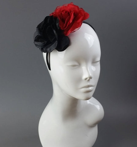 Two Rose Black and Red Garland Fascinator on Headband By Caprilite UK Online Shop