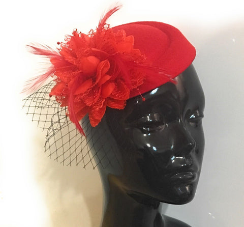Red Pillbox Fascinator with black birdcage veil by Caprilite UK Online Store