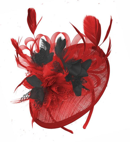 Red and Black Sinamy Base disc fascinator on headband